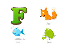 ABC letter F funny kid icons set: fox, fish, frog. Full English alphabet children education collection Stock Images
