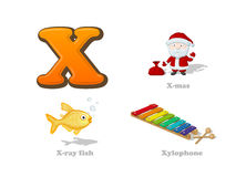 ABC letter X funny kid icons set: X-mas, x-ray fish, xylophone. Full English alphabet children education collection Royalty Free Stock Images