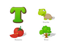 ABC letter T funny kid icons set: turtle, tomato, tree Stock Images