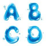 ABC - Lettera liquida dell'acqua impostata - capitale A B C D Fotografia Stock