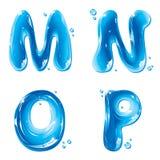 ABC - Lettera liquida dell'acqua impostata - m. capitale N O P Fotografie Stock Libere da Diritti