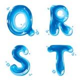ABC - Lettera liquida dell'acqua impostata - Q capitale R S T Fotografia Stock