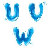 ABC - Lettera liquida dell'acqua impostata - U capitale V W Fotografia Stock