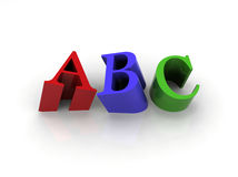 ABC  letters. 3D letters ABC - Red Green and Blue Royalty Free Stock Photo