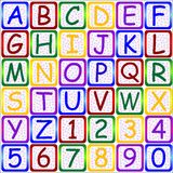 ABC letters-123 numbers. Set of colorful english letters a to z and 0 to 9 Royalty Free Stock Photography