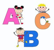 ABC letters. Alphabeth letters A B and C royalty free illustration