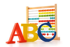 ABC letters with abacus on white Stock Photo