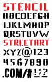 ABC. Letters of an alphabet in street art style. Vector alphabet. Letters and numbers. Stencil. Hand drawn letters. Black grunge font. Street art style. Latin Stock Images