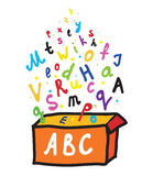 Abc letters from the box. Cartoon Royalty Free Stock Photo