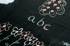 Abc letters chalk drawing on blackboard selective focus macro. Abc letters chalk drawing on blackboard background selective focus macro Royalty Free Stock Image