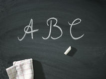 ABC letters Chalk old blackboard Royalty Free Stock Image