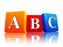 Abc letters in color cubes. 3d colorful cubes with letters abc with reflection royalty free illustration