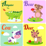Abc Letters. Cute zoo alphabet in . A, b, c, d letters. Funny animals for ABC book. Alligator, bear, cow and dear royalty free illustration