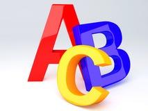 ABC Letters. Education concept. 3d illustration. Colorful symbols heap of alphabet. Education concept. 3d illustration stock illustration