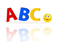 Abc letters with emoticon. Emoticon looking at the first three alphabet letters. Three-dimensional illustration with reflection isolated on white Stock Photos