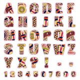 ABC letters with ethnic patterns. Rich ornate alphabet, numbers and punctuation marks. Vector illustration Royalty Free Illustration