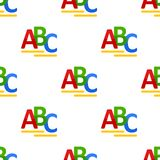 ABC Letters Flat Icon Seamless Pattern. A seamless pattern with a colorful ABC alphabet letters flat icon, isolated on white background. Useful also as design Stock Photo