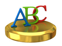 Abc letters on gold podium Stock Photos