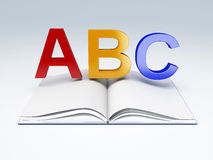 ABC letters with open book. education concept. Image of ABC letters with open book. education concept 3d illustration Stock Image