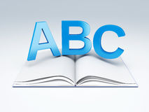 ABC letters with open book. education concept. Image of ABC letters with open book. education concept 3d illustration Stock Photography