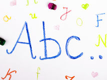 ABC letters on paper. Colorful drawing Royalty Free Stock Photo
