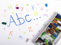 ABC letters on paper. Colorful drawing Royalty Free Stock Photography
