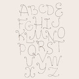 Abc letters sequence from A to Z. Capital letters hand drawn with ink in simple style with swirls decoration. Vector collection, g. Ood for creative writing and Stock Images