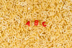 ABC letters spelled with alphabet pasta stock photo