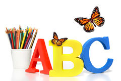ABC Letters With Pencils On White Stock Image