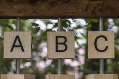 ABC. Letters ABC on wooden blocks stock image