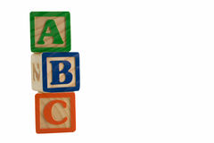 ABC line stack. Alphabet blocks stacked up and isolated stock image