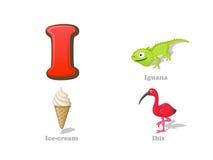 ABC list Ja śmieszne dzieciak ikony ustawiać: iguana, lody, ibis ilustracji