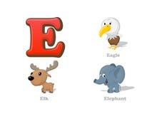 ABC listu E dzieciaka śmieszne ikony ustawiać: orzeł, łoś, słoń ilustracja wektor