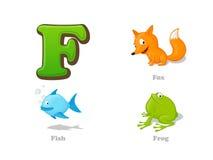 ABC listu F dzieciaka śmieszne ikony ustawiać: lis, ryba, żaba ilustracja wektor