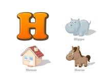 ABC listu H dzieciaka śmieszne ikony ustawiać: hipopotam, dom, koń royalty ilustracja