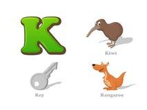 ABC listu K dzieciaka śmieszne ikony ustawiać: kiwi ptak, klucz, kangur ilustracja wektor
