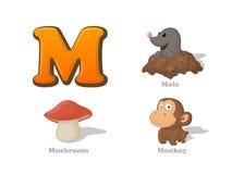 ABC listu M dzieciaka śmieszne ikony ustawiać: gramocząsteczka, pieczarka, małpa Alph royalty ilustracja