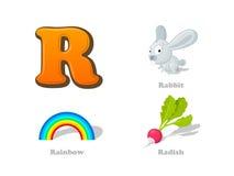 ABC listu R dzieciaka śmieszne ikony ustawiać: królik, tęcza, rzodkiew alp ilustracja wektor