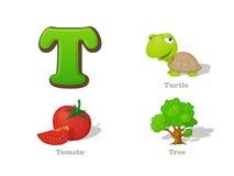 ABC listu T dzieciaka śmieszne ikony ustawiać: żółw, pomidor, drzewo ilustracji