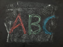 ABC marca la escritura con tiza Fotografía de archivo libre de regalías