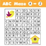 ABC Maze game: animals theme. Help bird find birdhouse. Activity for children and kids, learning English Alphabet. ABC Maze children game: help bird go through vector illustration