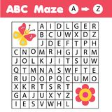 ABC Maze game: animals theme. Help butterfly find flower. Activity for children and kids, learning English Alphabet. ABC Maze children game: help butterfly go stock illustration
