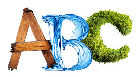 ABC of Nature. A B and C made from elements found in nature - grass, wood and water royalty free stock images