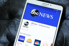 Abc news app logo. Downloading abc news application from google play store on samsung tab s2 Royalty Free Stock Image