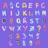 ABC and numbers Doodles. ABC letters and numbers Doodles Royalty Free Illustration