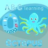 ABC哄骗海洋动物字母表O信件逗人喜爱的婴孩章鱼传染媒介深蓝蓝色被察觉的漫画人物海洋动物,海洋生活,滑稽的s 免版税库存照片