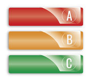 Abc options banners. 3 abc options banners red orange green Stock Images