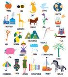 ABC para los niños con los animales, objetos, juguetes stock de ilustración