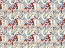 ABC pattern. Abstract seamless pattern with letters and numbers Royalty Free Stock Photography