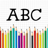 Abc Pencils Means Early Education And Alphabetical Stock Photos